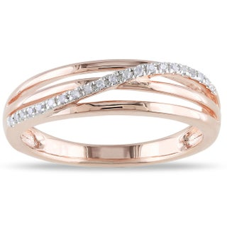 Miadora Sterling Silver 1/16 ct. TDW Diamond Crossover Highway Ring (More options available)
