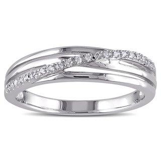 Miadora Sterling Silver 1/16 ct. TDW Diamond Crossover Highway Ring