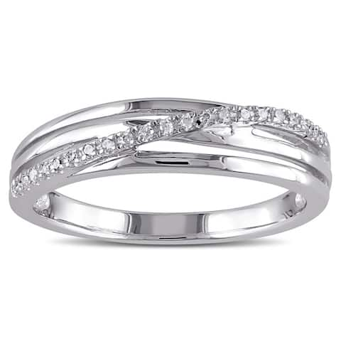 1/6ct TDW Diamond Crossover Highway Ring in Sterling Silver by Miadora