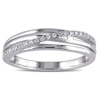 Miadora Sterling Silver Diamond Accent Crossover Ring