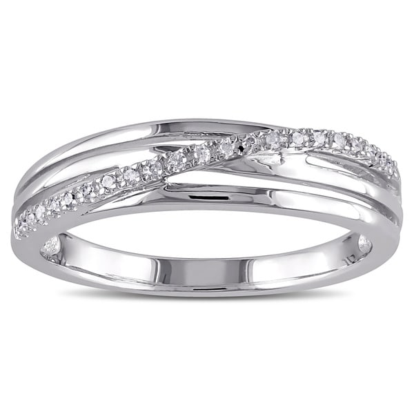 Miadora Sterling Silver Diamond Accent Crossover Ring