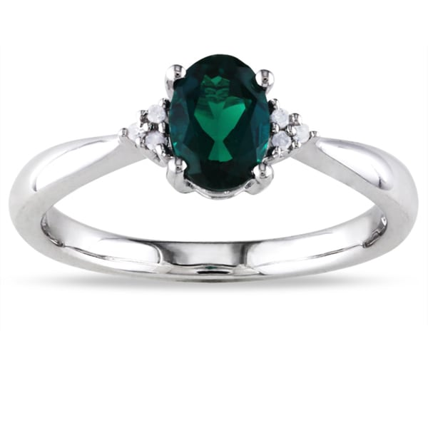 M by Miadora Sterling Silver 3/4ct TGW Created Emerald and Diamond Accent Ring