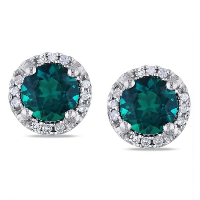 Miadora 10k White Gold 1ct TGW Created Emerald and Diamond Accent Earrings