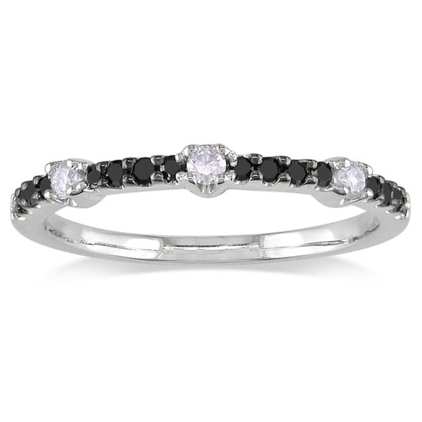 Miadora 14k White Gold 1/4ct TDW Black and White Diamond Ring