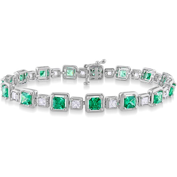 Miadora Sterling Silver 11 3/4ct TGW Created Multi-gemstone 7-inch Bracelet