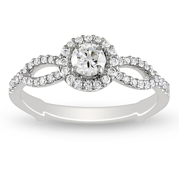 Miadora 18k White Gold 1/2ct TDW Round Halo Diamond Ring (H-I, I1-I2)