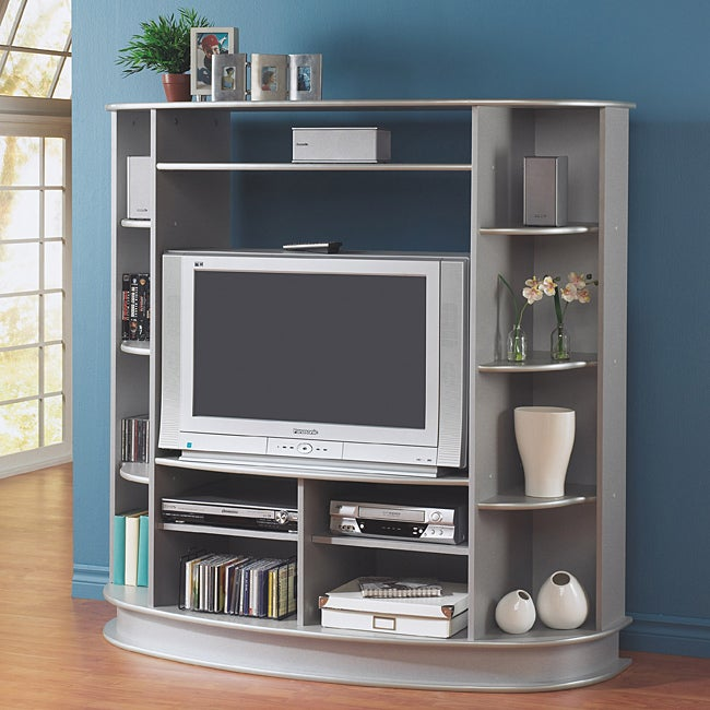 silver 36 inch tv entertainment center free shipping today 14245265. Black Bedroom Furniture Sets. Home Design Ideas