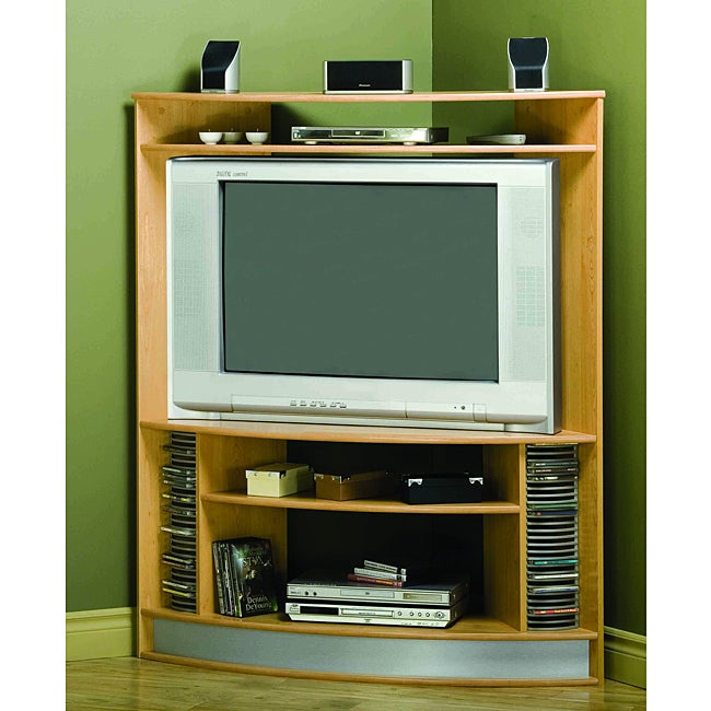 Maple Corner 42 Inch Tv Stand With Silver Base