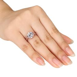 Miadora Sterling Silver Cubic Zirconia Solitaire Ring - Thumbnail 2