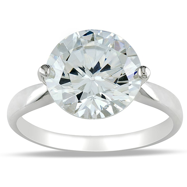 Miadora Sterling Silver Cubic Zirconia Solitaire Ring