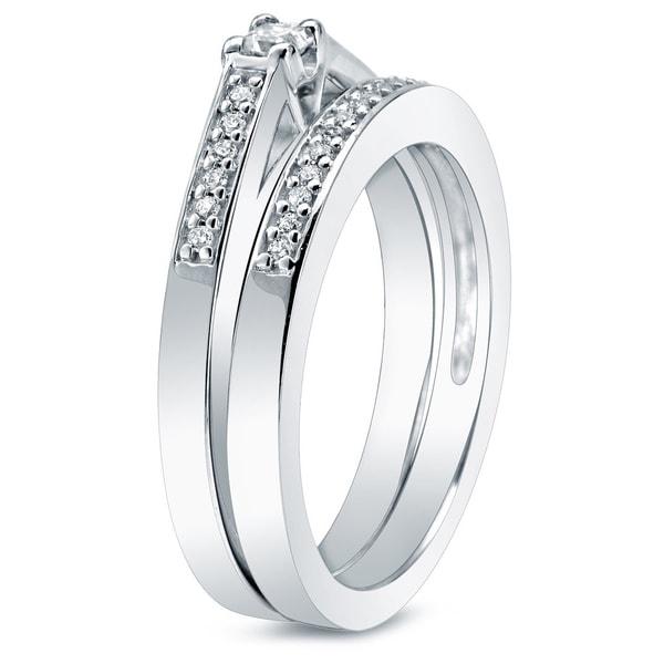 Auriya 10k Gold 1/4ct TDW Princess-Cut Diamond Bridal Ring Set