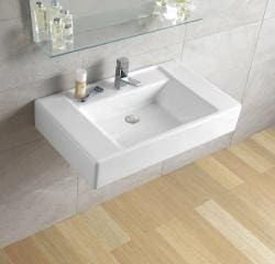 Bissonnet White Casual Bathroom Ceramic Sink - Thumbnail 1