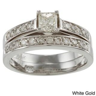 Auriya 14k Gold 1ct TDW Certified Princess-cut Diamond Bridal Ring Set (I-J, I2)