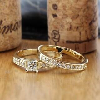 Auriya 14k Gold 1ct TDW Certified Princess-cut Diamond Bridal Ring Set