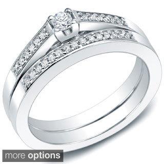 Auriya 10k Gold 1/4ct TDW Round Diamond Bridal Ring Set