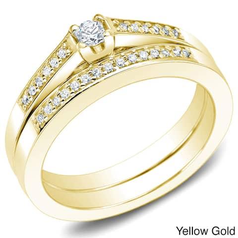 Auriya 10k Gold 1/4ctw Petite Round Accent Diamond Engagement Ring Set
