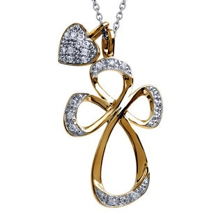 Bridal Symphony Sterling Silver with 10k Yellow Gold 0.15CTtw Diamond Heart Cross Necklace (I-J, I2-I3)