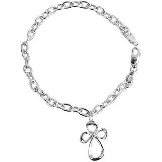 Bridal Symphony Sterling Silver Diamond Cross Charm Bracelet