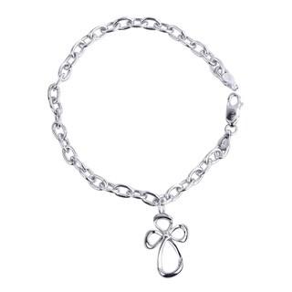 Bridal Symphony Sterling Silver Diamond Accent Cross Charm Bracelet