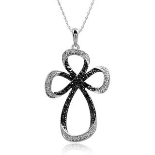 Bridal Symphony Sterling Silver 0.35CTtw Black and White Diamond Cross Necklace (I-J, I2-I3)