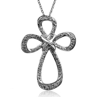 Bridal Symphony Sterling Silver 1/6ct TDW Diamond Cross Necklace