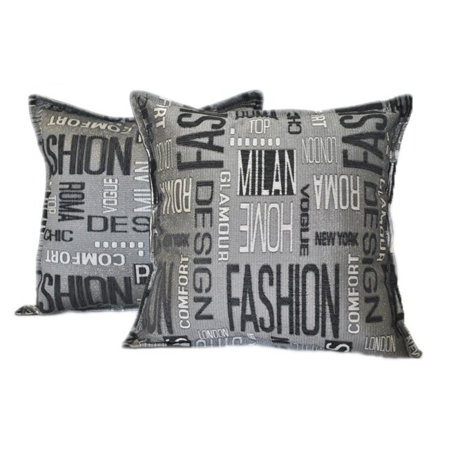 Sherry Kline 18-inch Fashion Black Charcoal Pillows (Set of 2) - Thumbnail 0