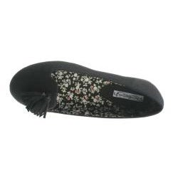 Refresh By Beston Women's Black BLOSSOM Smoking Flats
