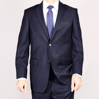 Navy Blue Pinstripe 2-Button Suit (Option: 38r)