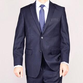 Men's Navy Blue Striped Two-button Suit