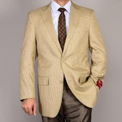 Men's Tan 2-Button Wool Sport Coat