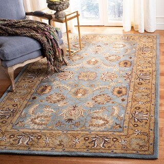Safavieh Handmade Heritage Timeless Traditional Blue/ Gold Wool Rug - 11' x 17'