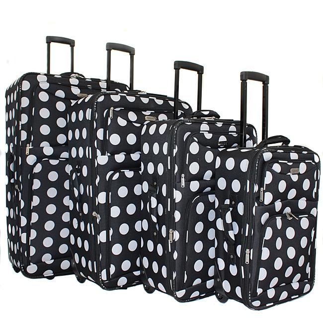 Overland Polka Dot 4-piece Expandable Wheeled Upright Luggage Set