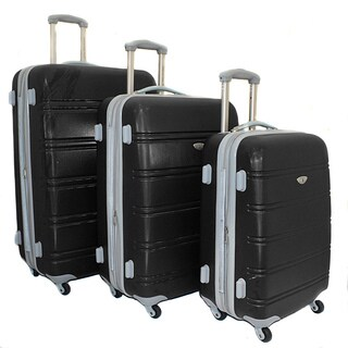 American Green Black Travel 3-piece Lightweight Expandable Hardside Spinner Luggage Set