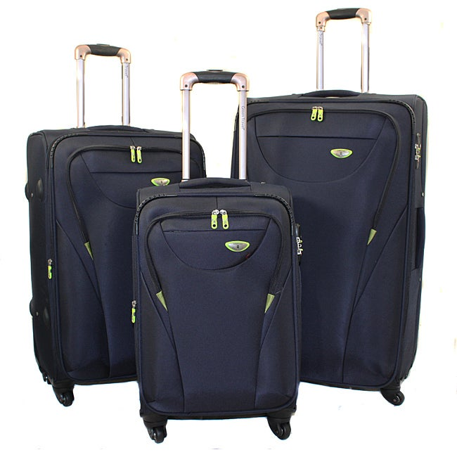 American Green Travel Navy 3-piece Expandable Spinner Luggage Set with TSA Lock