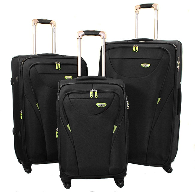 American Green Travel Black 3-piece Expandable Spinner Luggage Set with TSA Lock
