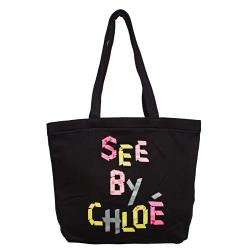 See by Chloe Black/Multicolor Open-top Canvas Tote Bag 14245645 - Thumbnail 0