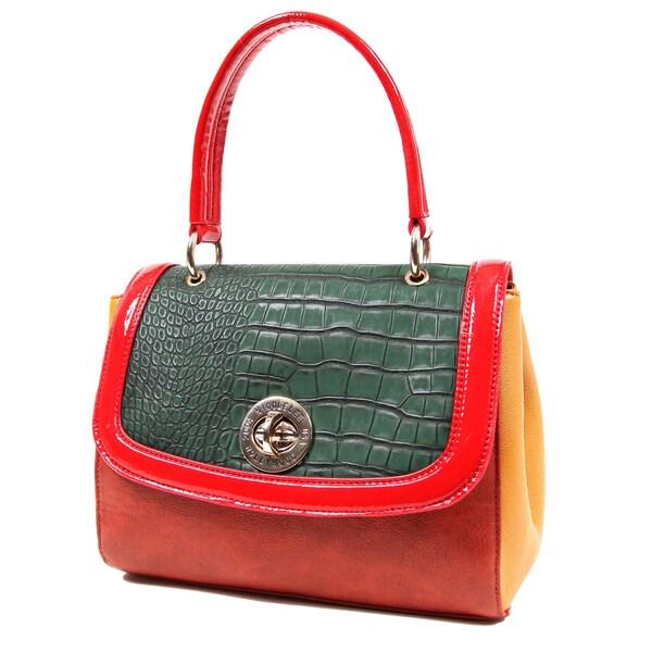 Nicole Lee Croco Embossed Satchel Bag