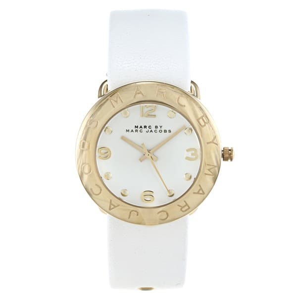 2f777e610a8f3 Shop Marc Jacobs Women's Amy White-and-goldtone Watch - Gold/White ...