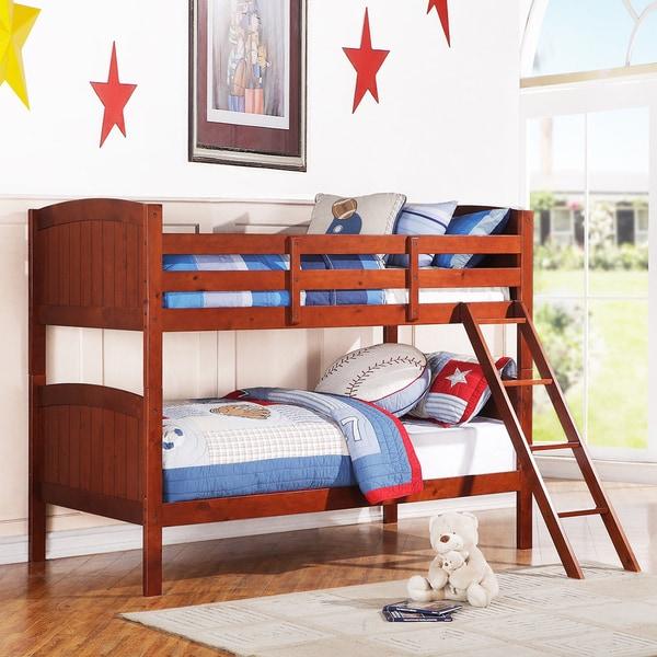 TRIBECCA HOME Armidale Mahogany Beadboard Twin Bunk Bed