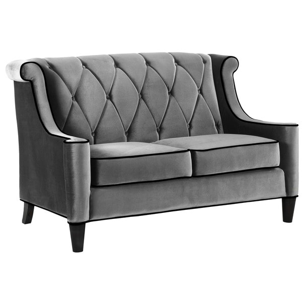 Armen Living Barrister Modern Grey Velvet Loveseat