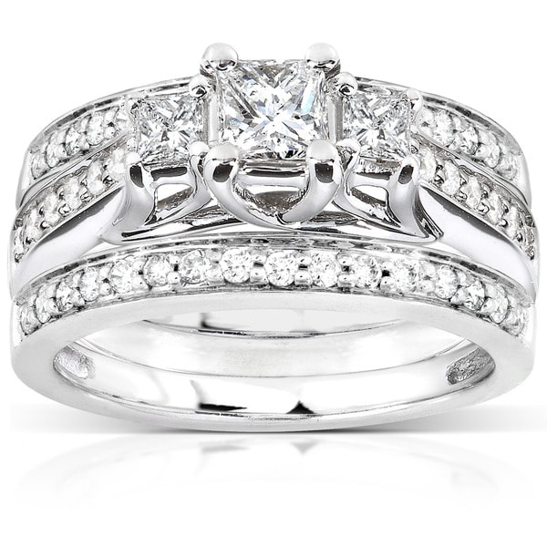 Annello by Kobelli 14k White Gold 7/8ct TDW Diamond 3-piece Bridal Ring Set