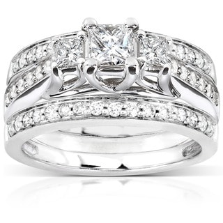 Annello by Kobelli 14k White Gold 7/8ct TDW Diamond 3-piece Bridal Ring Set (H-I, I1-I2)