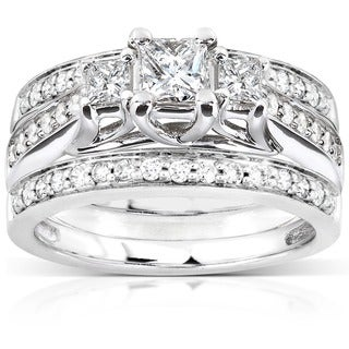 Annello by Kobelli 14k White Gold 7/8ct TDW Diamond 3-piece Bridal Ring Set