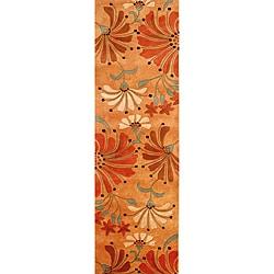 Alliyah Handmade Rust New Zealand Blend Wool Rug (3' x 10')