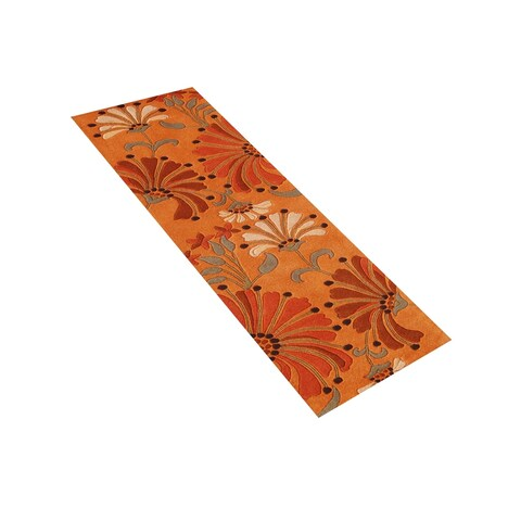 Alliyah Handmade Rust New Zealand Blend Wool Rug - 3' x 10'