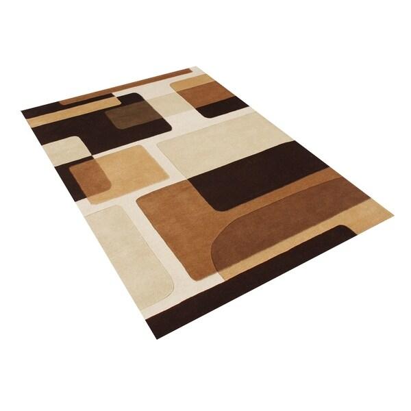 Alliyah Handmade Brown New Zealand Blend Wool Rug - 9' x 12'