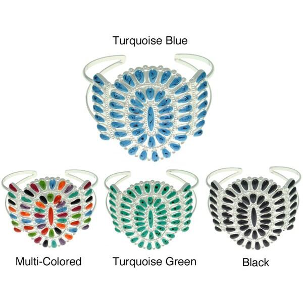 Silvertone Colored Enamel -style Cluster Cuff Bracelet
