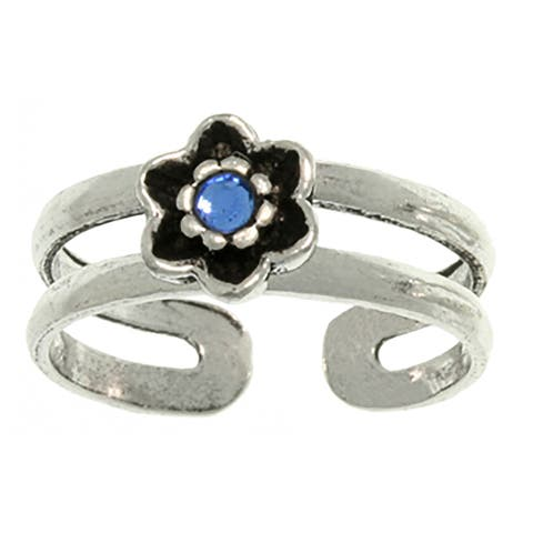 Carolina Glamour Collection Sterling Silver Colored Glass Flower or Turtle Toe Ring