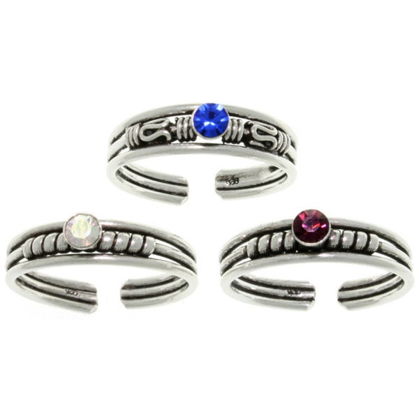 Carolina Glamour Collection Sterling Silver Colored Crystal Bali-style Toe Ring