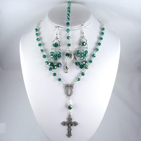 Emerald Crystal Catholic Wedding Jewelry Set